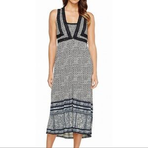Lucky Brand Dress Black Maxi Crochet Knit Hi-Low